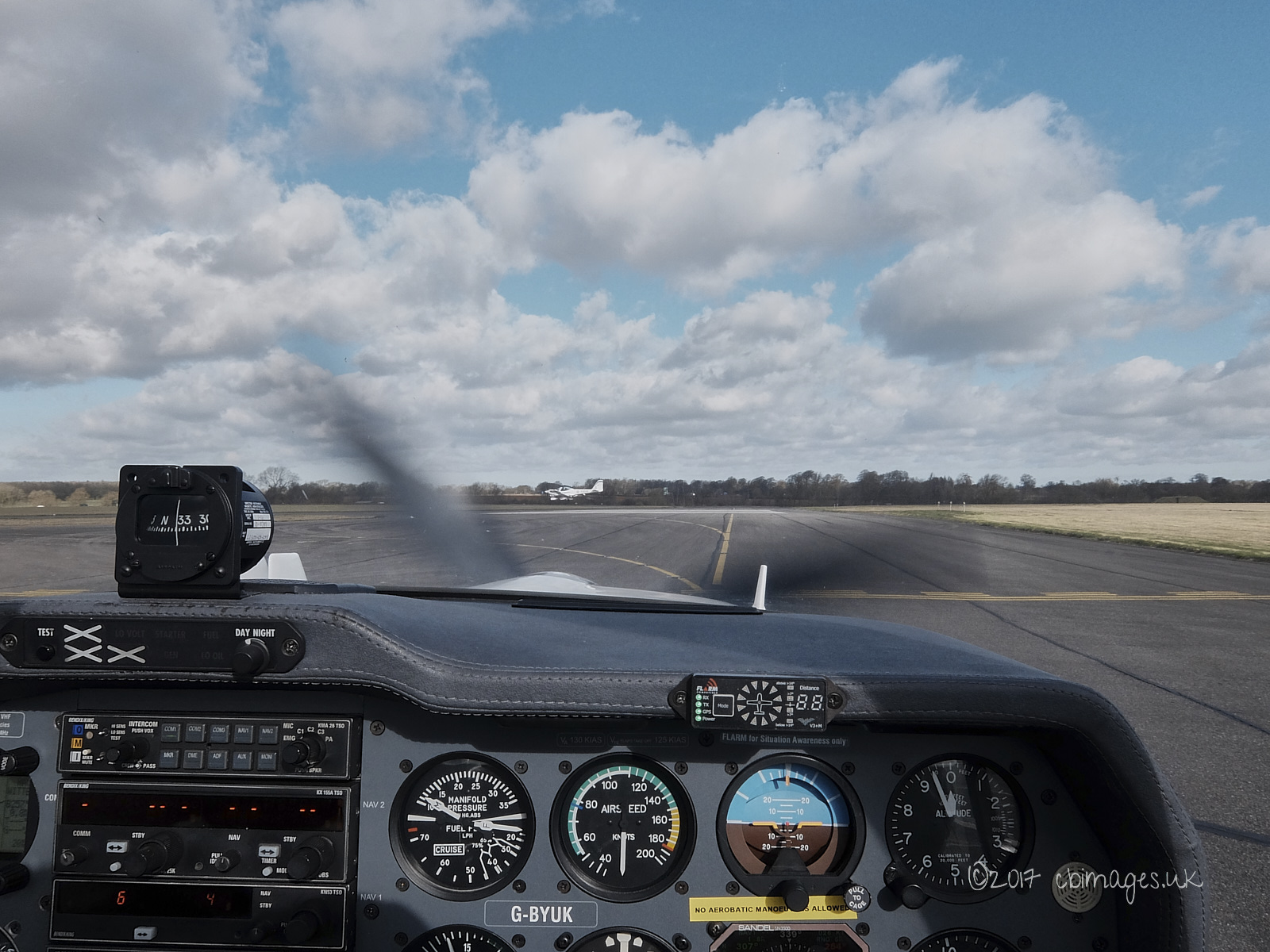 Aircraft cockpit and sky
