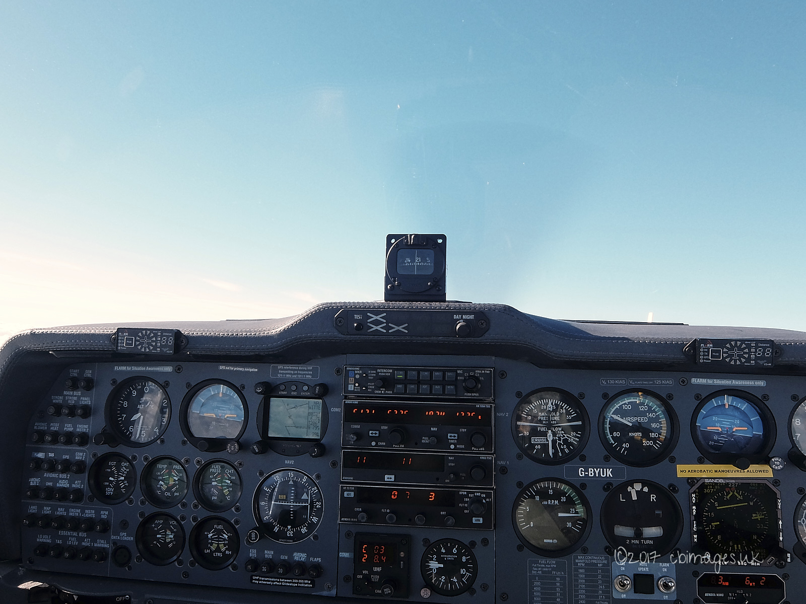 Aircraft cockpit instruments and sky