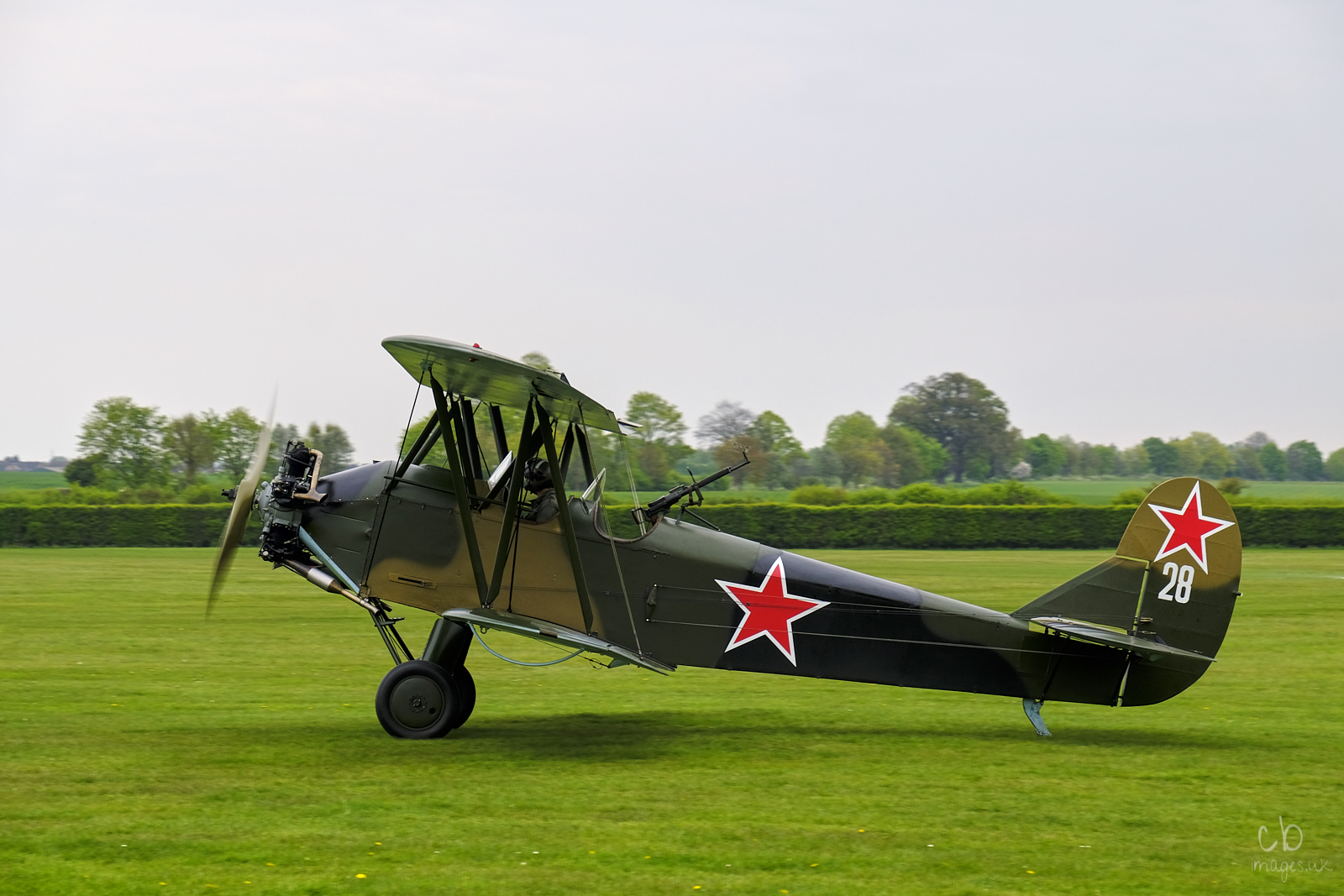 Second World biplane on the grass at Old Warden airfield