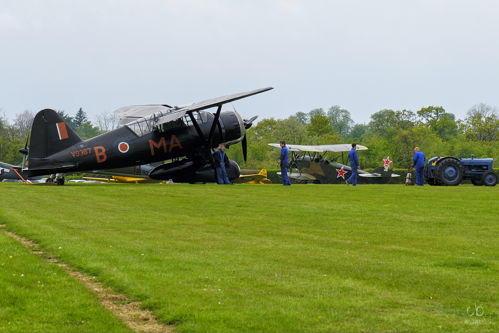 A second world war monoplane on the grass