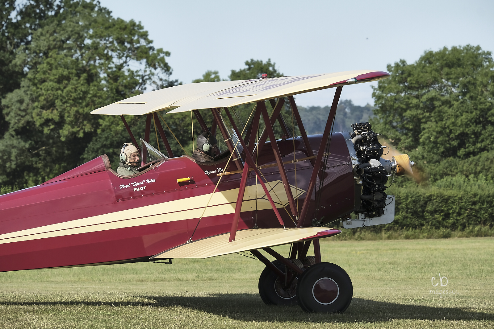A biplane with two pilots