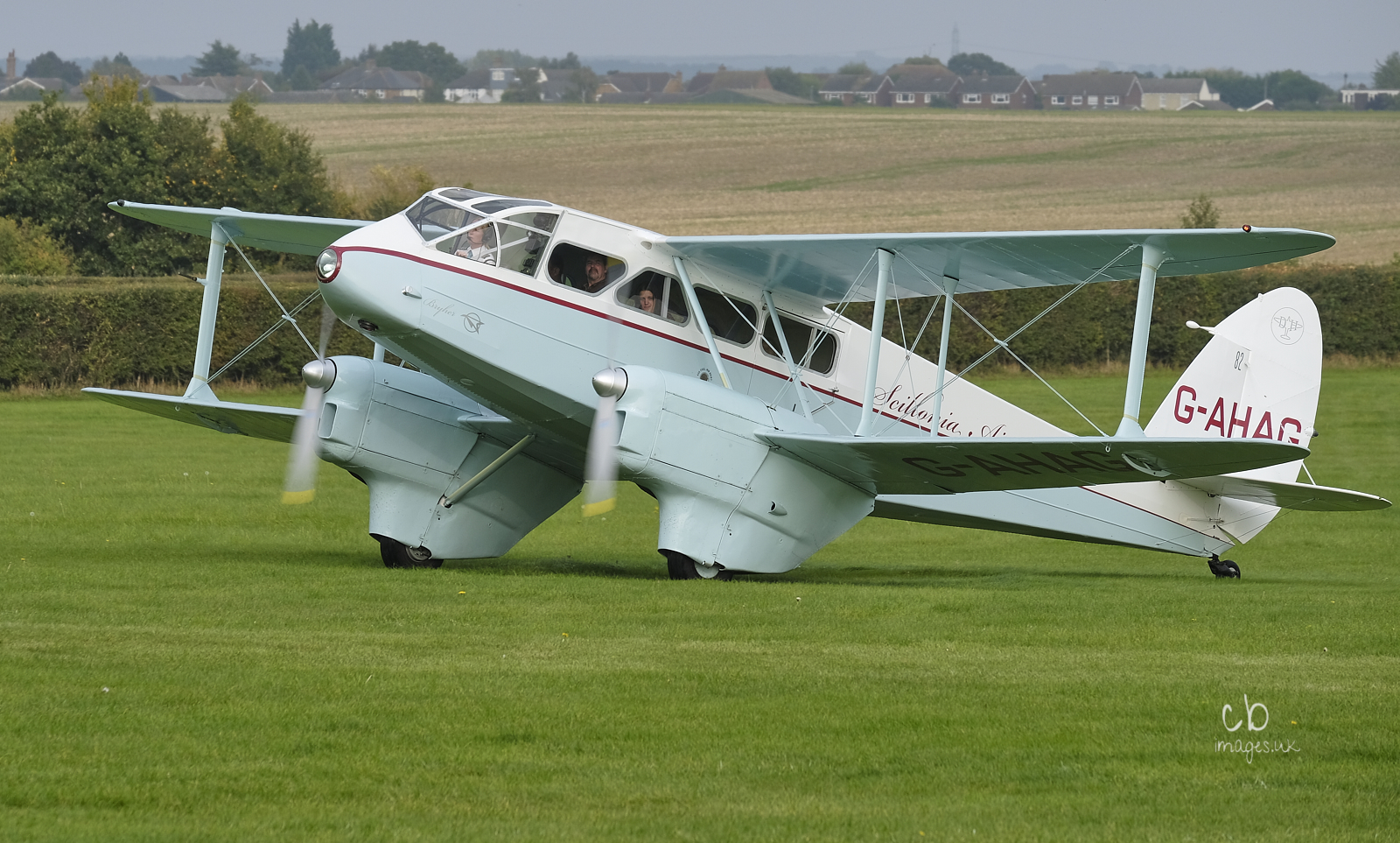 Biplane twin-engined airliner in pale blue