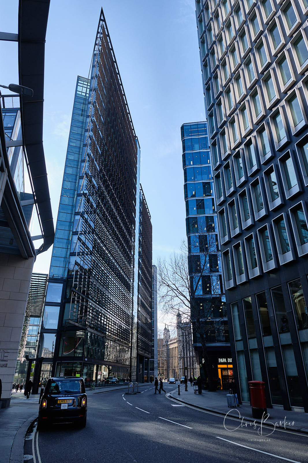 Angular buildings on New Fetter Lane in London
