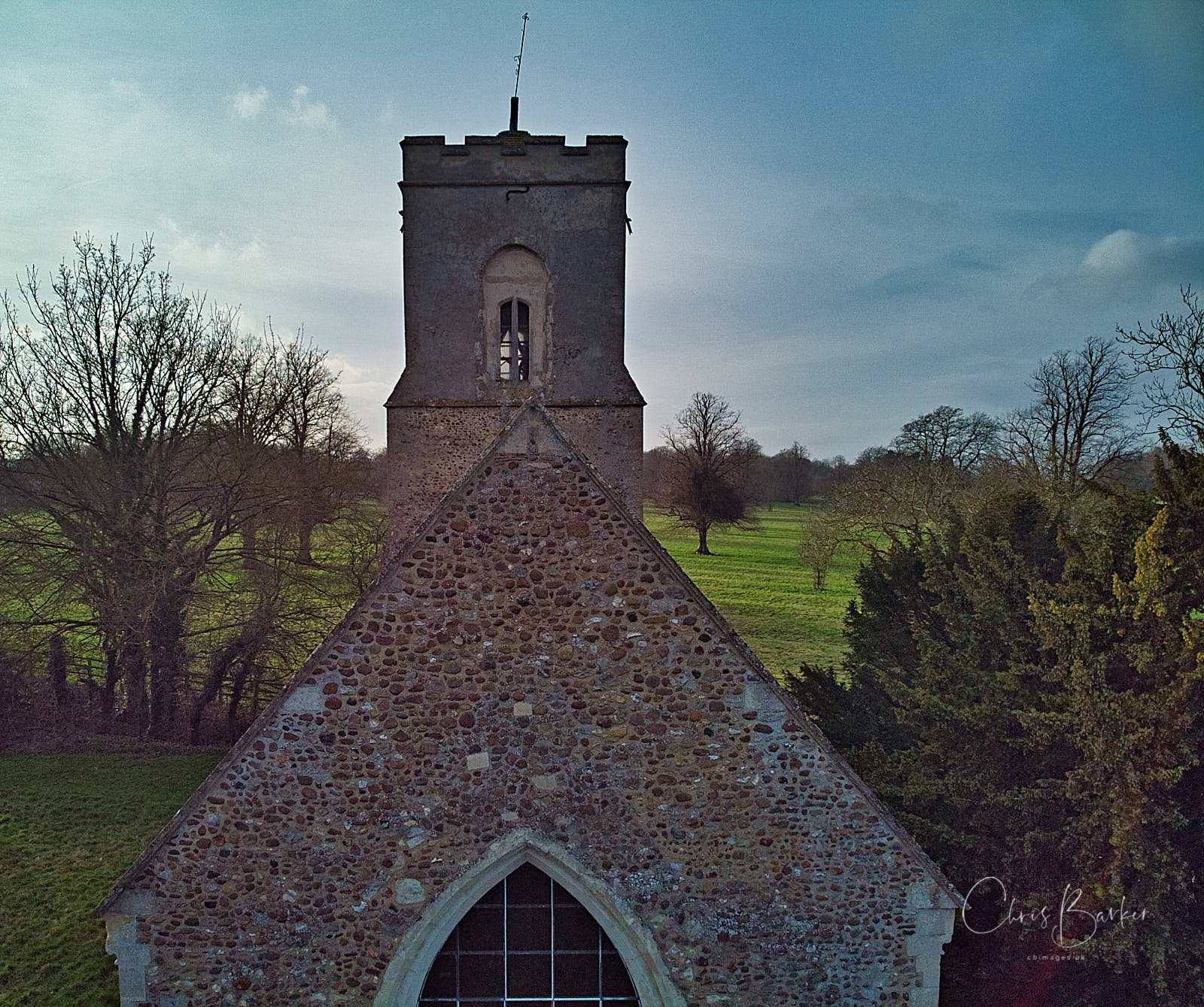 Church viewed from the end of the roof ridge