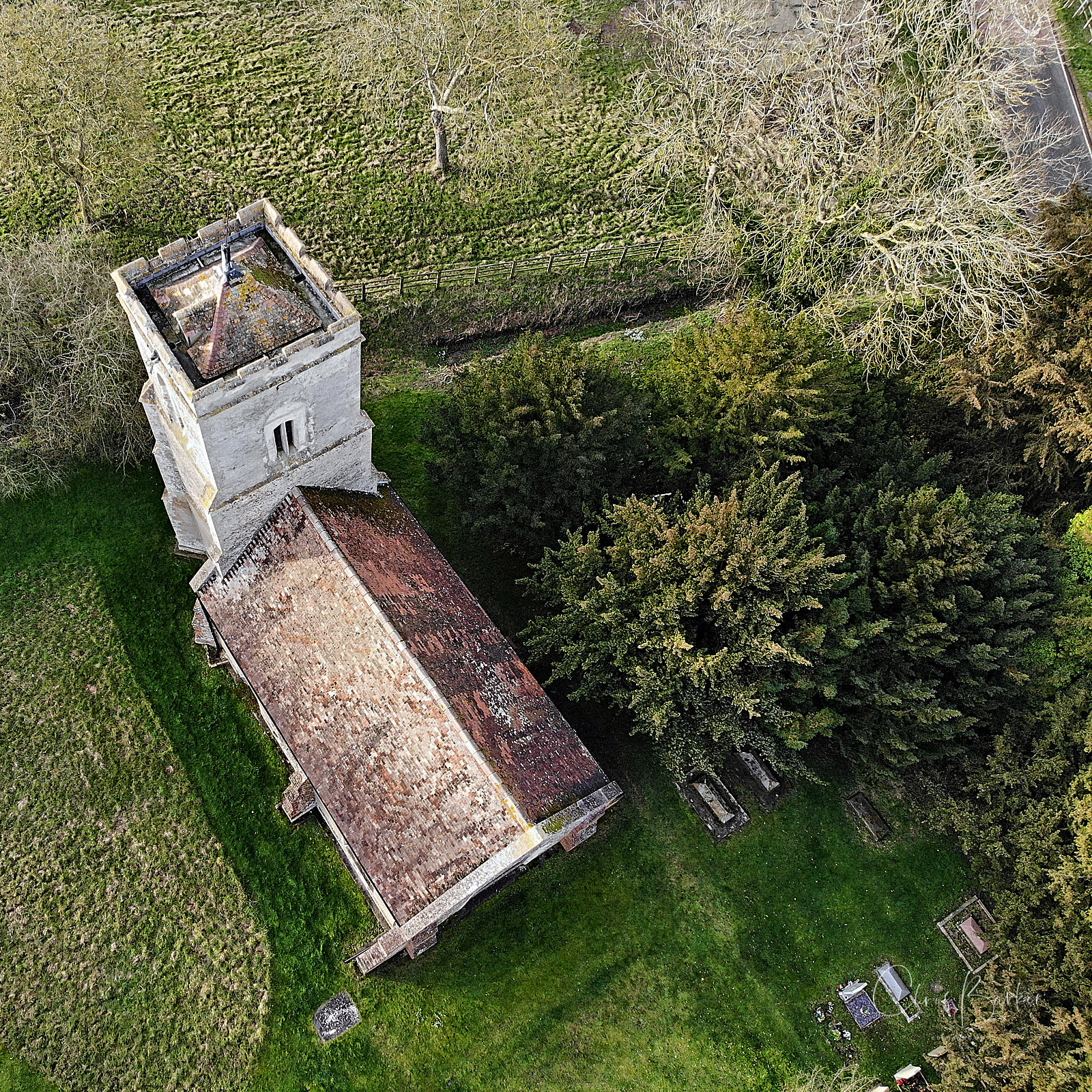 A church viewed from above