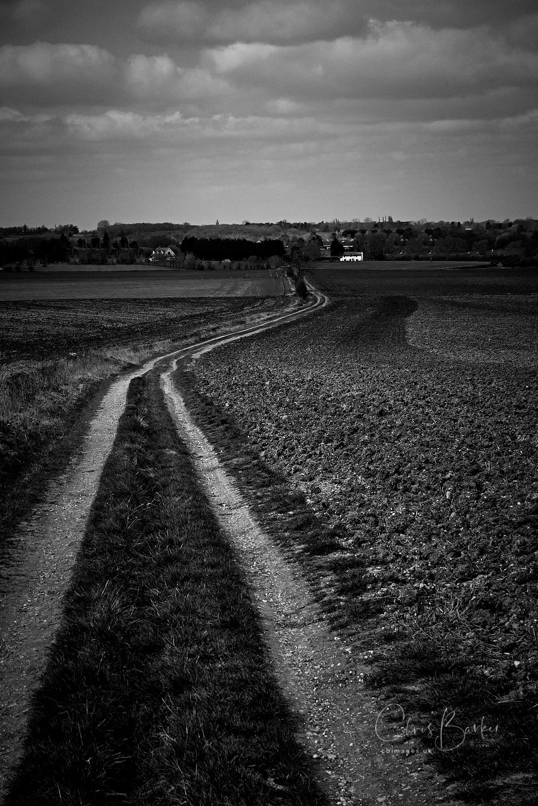 Monochrome photo of a track in a field towards a white house